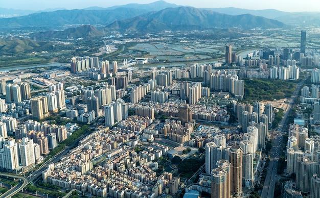 Fotografía aérea del horizonte de paisaje de arquitectura de shenzhen