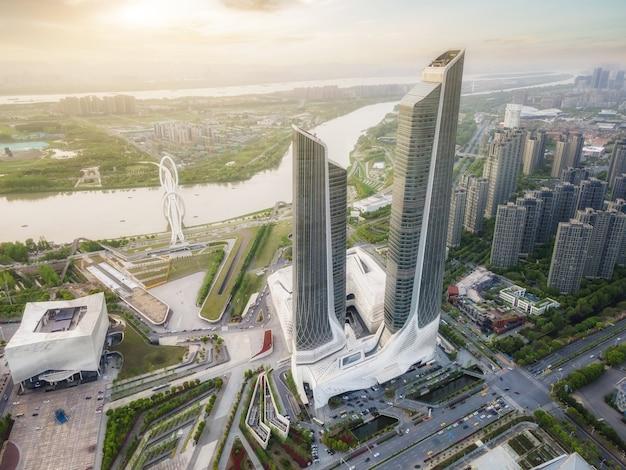 Fotografía aérea del paisaje arquitectónico del distrito central de negocios de hexi en nanjing