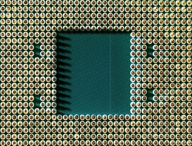 Fotografía macro de un procesador de computadora principal de la cpu moderna. vista superior