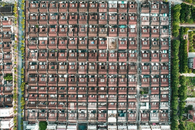Fotos aéreas de la ciudad antigua en el distrito de chaoyang, ciudad de shantou, china