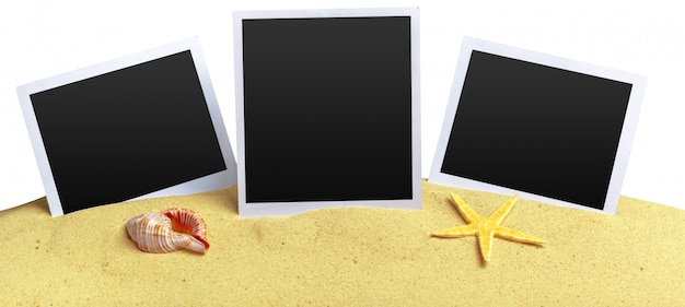 Fotos sobre fondo de arena