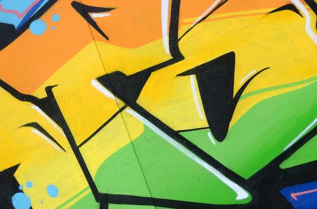 Fragmento de pintura de graffiti de arte callejero coloreado