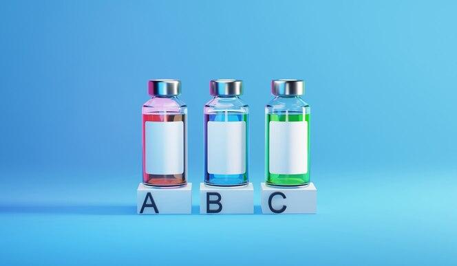 Frasco vial de plantilla de infografía de vacuna covid-19. ilustración de render 3d.