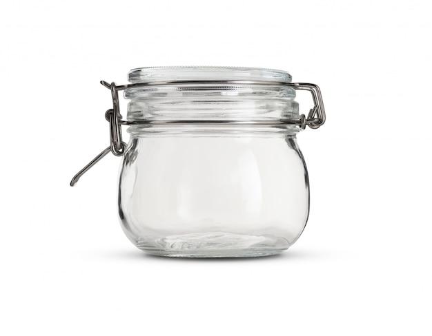 Frasco de vidrio con tapa de vidrio sobre fondo blanco.