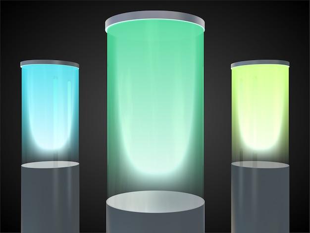 Frascos de laboratorio con el brillo de gases inertes.