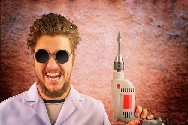 Freaky loco doctor en bata blanca y gafas de sol oscuras con taladro en mano