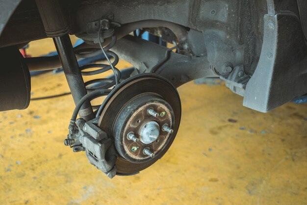 Freno de disco del coche sin ruedas