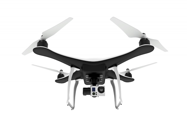 Frente de un avión no tripulado con cámara digital volando en un fondo blanco