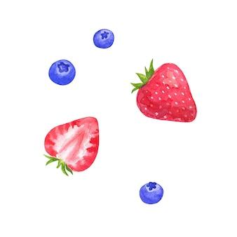 Fresa y arándano. ilustración acuarela dibujada a mano. aislado en la pared blanca.