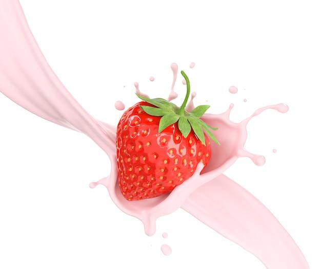 Fresas en el chapoteo de la leche, ilustración 3d.