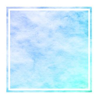 Frío azul dibujado a mano acuarela marco rectangular textura de fondo con manchas