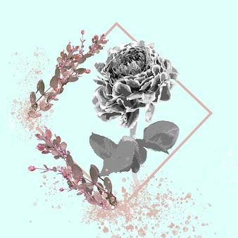 Frío. ilustración acuarela floral de flor de fantasía en hermosos colores. diseño moderno geométrico y splash con copyspace para anuncios. primavera, boda, tarjeta para el saludo de la madre, el día de la mujer.