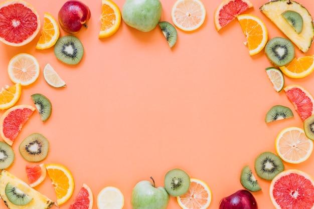 Frontera de frutas frescas