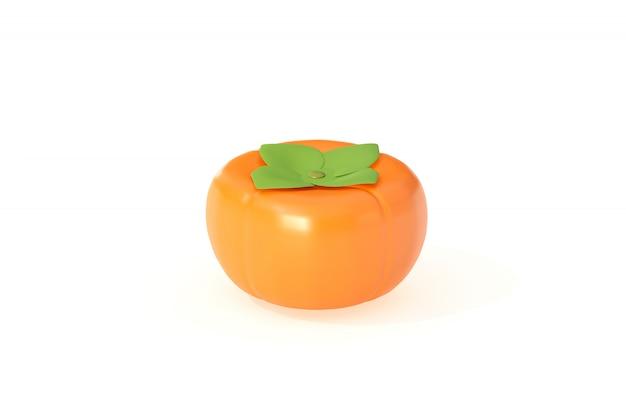 Una fruta caqui 3d rendering aislado sobre fondo blanco.