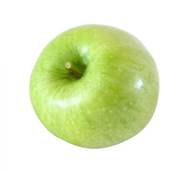 Fruta de manzana verde entera aislada sobre fondo blanco con trazado de recorte