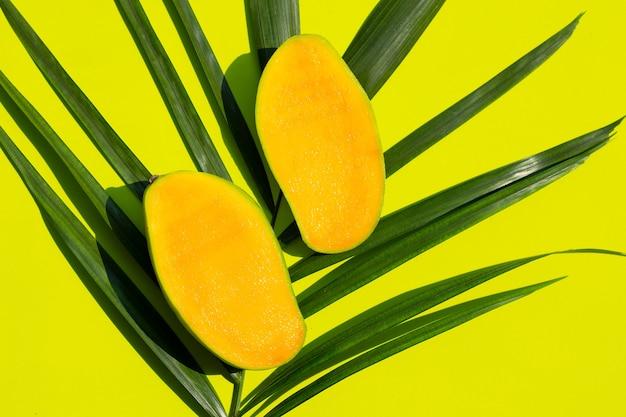 Fruta tropical, mango con hojas verdes sobre superficie verde