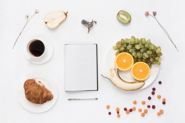 Frutas dispuestas una cara humana en un plato con croissant; café y flores secas sobre fondo blanco