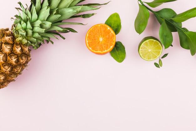 Frutas tropicales y hojas verdes.