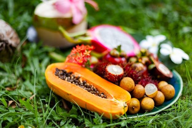 Frutas tropicales de la región de asia sobre el césped