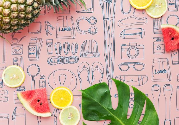 Frutas de verano con espacio de copia. fondo de verano