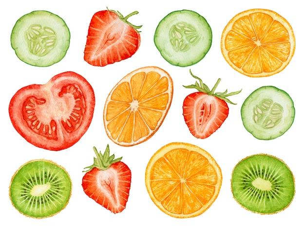 Frutas y verduras de la acuarela aisladas en el fondo blanco.