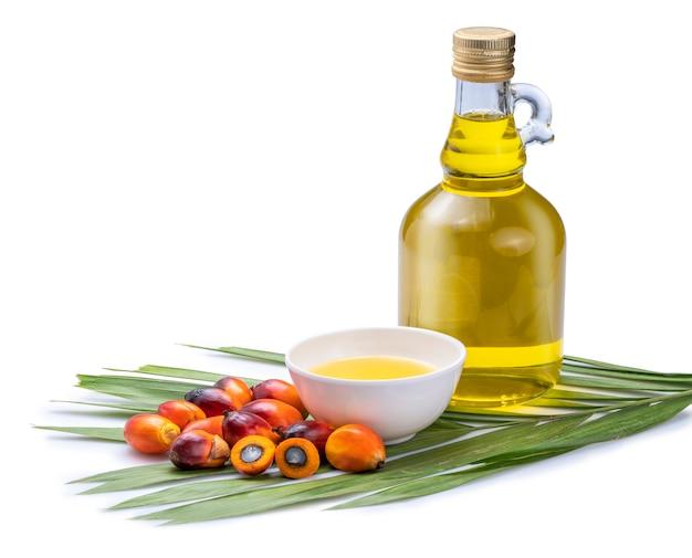 Frutos frescos de palma de aceite y cocinar aceite de palma en botellas de vidrio en hojas de palma aisladas en el espacio en blanco.