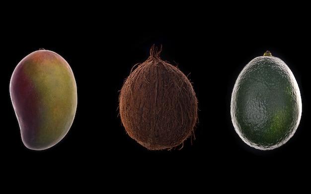 Frutos de mango, coco y aguacate sobre negro