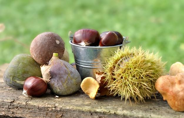 Frutos otoñales en una tabla en el jardín