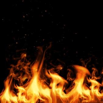 Fuego y chispa con negro. ilustración 3d