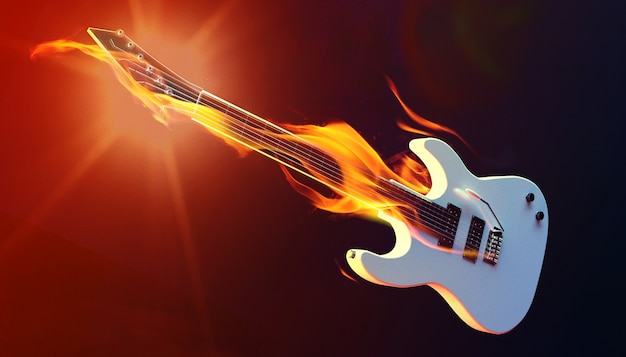 Fuego guitarra 3d render