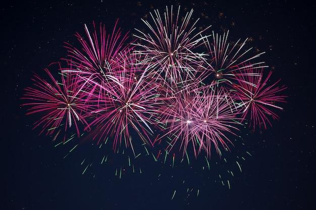 Fuegos artificiales chispeantes de celebración rosa roja granate