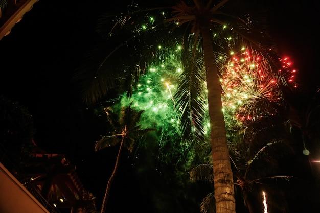 Los fuegos artificiales verdes explotan sobre las palmas en hawaii