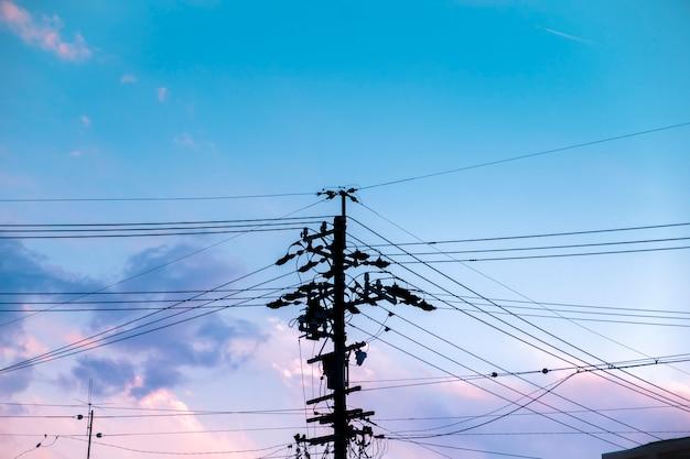 Fuente de alimentación eléctrica de la silueta del poste.