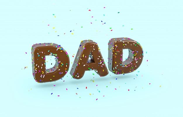 Fuente de donut glaseado con chispitas de colores. palabra abstracta 3d dad