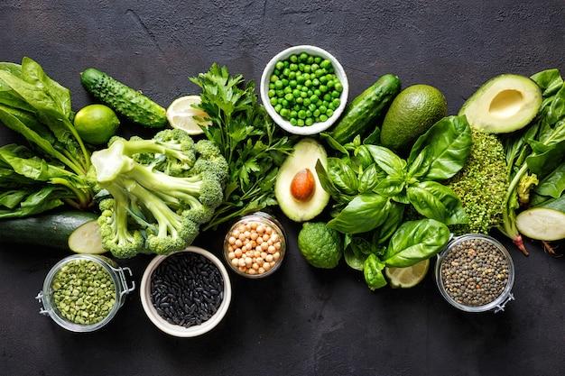 Fuente de proteínas vegetarianos vista superior comida sana alimentación limpia