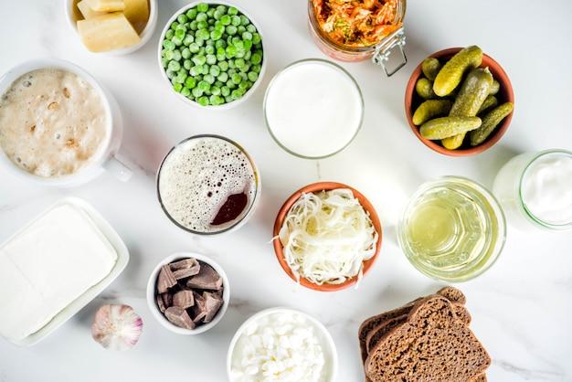 Fuentes de alimentos fermentados probióticos súper saludables