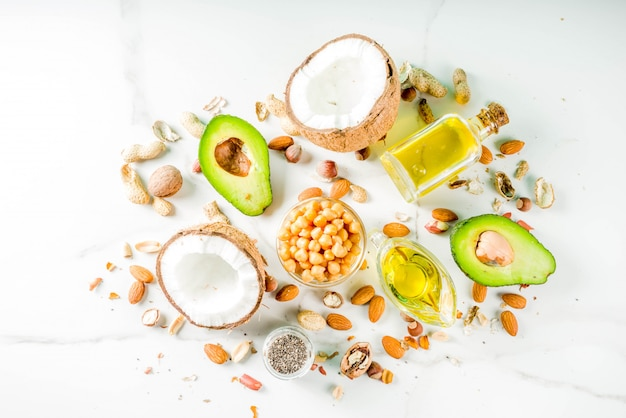 Fuentes de alimentos grasos veganos saludables