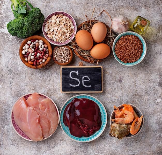 Fuentes de productos saludables de selenio.
