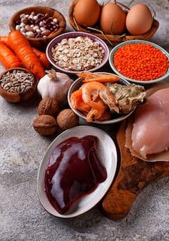 Fuentes de productos saludables de zinc.