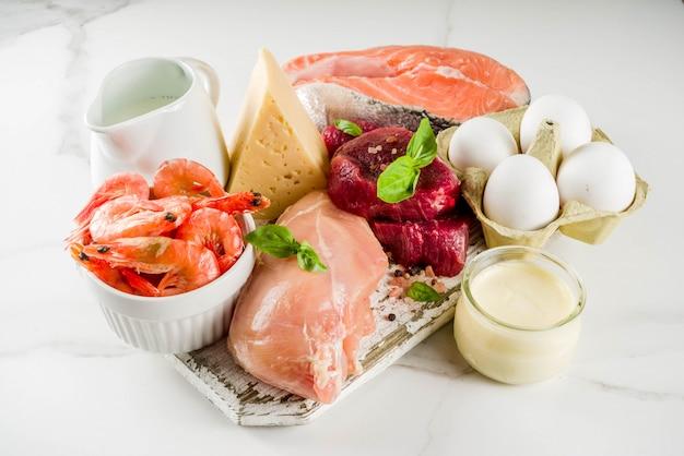 Fuentes de proteínas animales, carne, agg, productos lácteos, queso, mariscos.