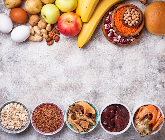 Fuentes saludables de productos de hierro