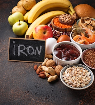 Fuentes sanas de productos de hierro.