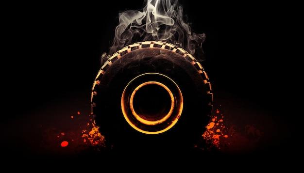 Fuera de carretera neumático con humo render 3d