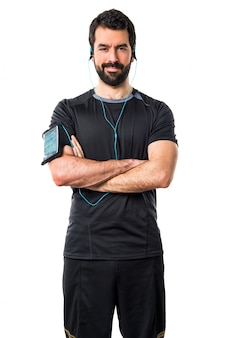 Fuerza barba auricular poder atleta