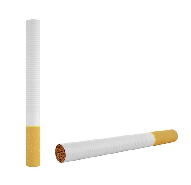 Fumar cigarrillo aislado en un blanco