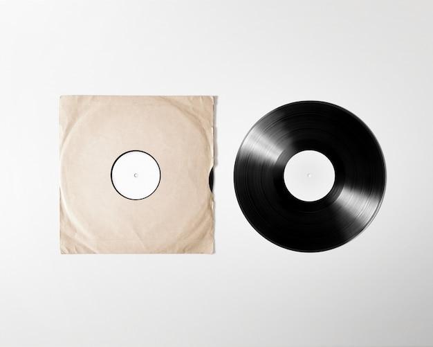 Funda de álbum de vinilo en blanco, aislada,
