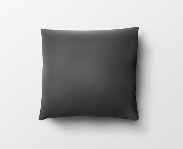 Funda de almohada negra en blanco aislada