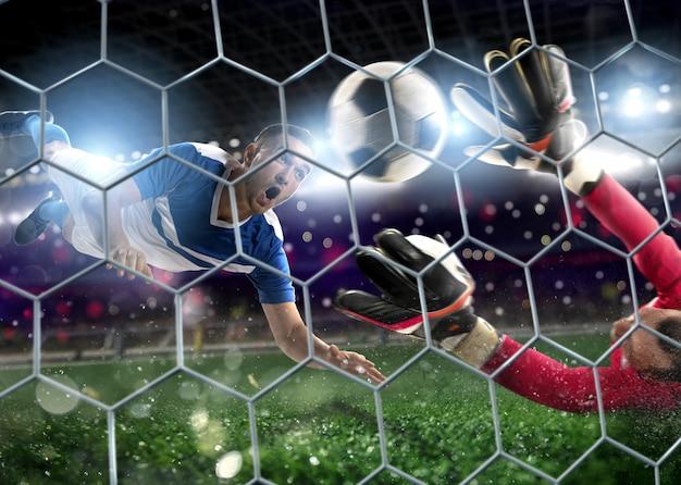 Fútbol cerca de la escena en el estadio de un portero que atrapa el balón