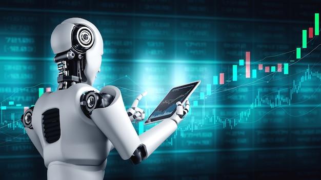Futura tecnología financiera controlada por un robot de inteligencia artificial mediante aprendizaje automático