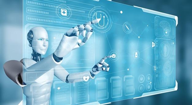 Futura tecnología médica controlada por un robot de inteligencia artificial mediante aprendizaje automático